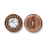 TierraCast Beaded Button, with Swarovski SS34 Crystal, Antiqued Copper