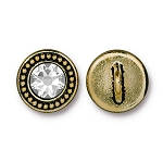 TierraCast Beaded Button, with Swarovski SS34 Crystal, Antiqued Gold