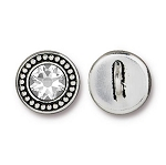 TierraCast Beaded Button, with Swarovski SS34 Crystal, Antiqued Silver