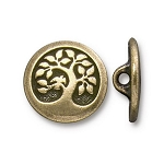 TierraCast Bird in a Tree Button, Brass Ox