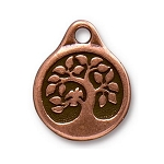 TierraCast Bird in a Tree Drop, Double-Sided Antique Copper