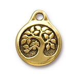 TierraCast Bird in a Tree Drop, Double-Sided Antique Gold