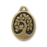 TierraCast Bird in a Tree Pendant, Double-Sided Brass Ox