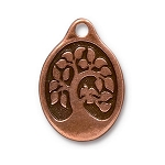 TierraCast Bird in a Tree Pendant, Double-Sided Antique Copper