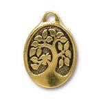 TierraCast Bird in a Tree Pendant, Double-Sided Antique Gold