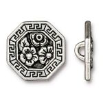 TierraCast Blossom Button, Antique Silver