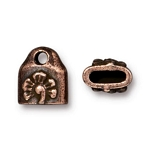 TierraCast Blossom Crimp End Caps, Antiqued Copper-Plated Pewter, Pkg. of 2