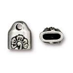 TierraCast Blossom Crimp End Caps, Antiqued Silver-Plated Pewter, Pkg. of 2