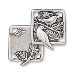 TierraCast Botanical Birds Link, Antiqued Silver