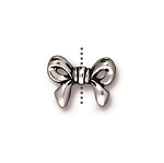TierraCast Bow Bead, Antique Silver