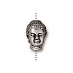TierraCast Buddha Large Hole Bead, Antique Silver