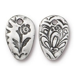 TierraCast Flora Charm, Antiqued Pewter