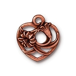 TierraCast Floral Heart Charm, Antique Copper