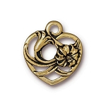 TierraCast Floral Heart Charm, Antique Gold