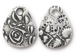 TierraCast Flora Small Teardrop Charm, Antiqued Pewter