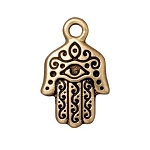 TierraCast Hamsa Hand Drop, Antiqued Gold