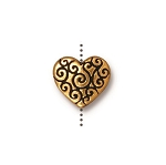 TierraCast Heart Scroll Bead, Antique Gold