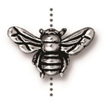 TierraCast Honey Bee Bead, Antique Silver