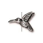 TierraCast Hummingbird Bead, Antique Silver