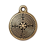 TierraCast Labyrinth Drop, Double-Sided Antique Gold