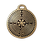 TierraCast Labyrinth Pendant, Double-Sided Antique Gold