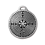 TierraCast Labyrinth Pendant, Double-Sided Antique Silver
