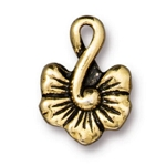 TierraCast Large Blossom Charm, Antique Gold