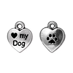 TierraCast Love My Dog Charm, Antique Silver