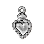 TierraCast Milagro Heart Charm, Antique Silver
