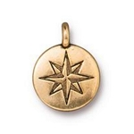 TierraCast Mini North Star Charm, Antique Gold