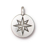 TierraCast Mini North Star Charm, Antique Silver