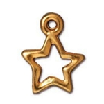 TierraCast Open Star Charm, Bright Gold Plate