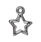 TierraCast Open Star Charm, Bright Rhodium Plate