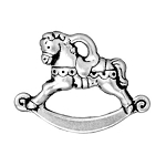 TierraCast Rocking Horse Charm, Antique Silver Plated
