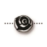 TierraCast Rose Bead, Antique Silver