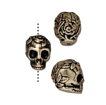 TierraCast Rose Skull Bead, Brass Ox