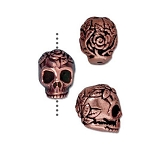 TierraCast Rose Skull Bead, Antique Copper