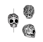 TierraCast Rose Skull Bead, Antique Silver