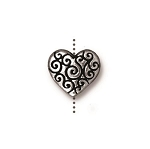TierraCast Heart Scroll Bead, Antique Silver