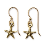 TierraCast Sea Star Earrings, Antiqued Gold