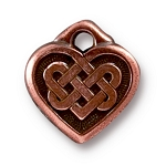 TierraCast Small Celtic Heart Charm, Antique Copper