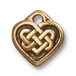 TierraCast Small Celtic Heart Charm, Antique Gold