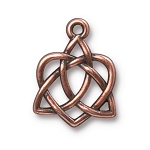TierraCast Small Celtic Open Heart Drop, Antique Copper