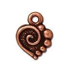 TierraCast Spiral Heart Charm, Antique Copper