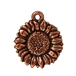TierraCast Sunflower Charm, Antique Copper