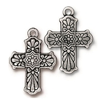 TierraCast Talavera Cross Pendant, Antique Silver