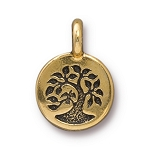 TierraCast Tree Charm, Antique Gold