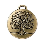 TierraCast Tree of Life Pendant, Double-Sided Antique Gold