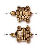 TierraCast Turtle Bead, Antique Gold