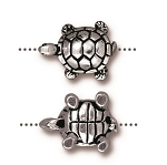 TierraCast Turtle Bead, Antique Silver